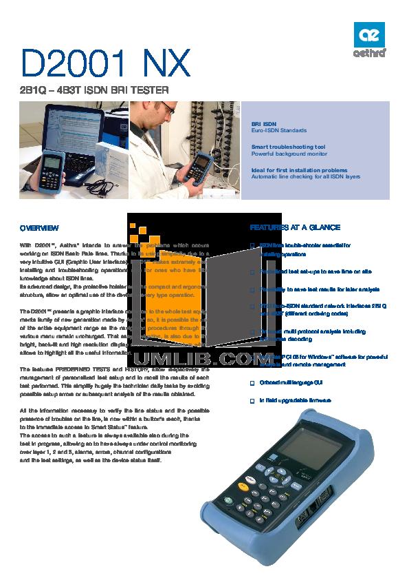 pdf for Aethra PDA D2001 NX manual