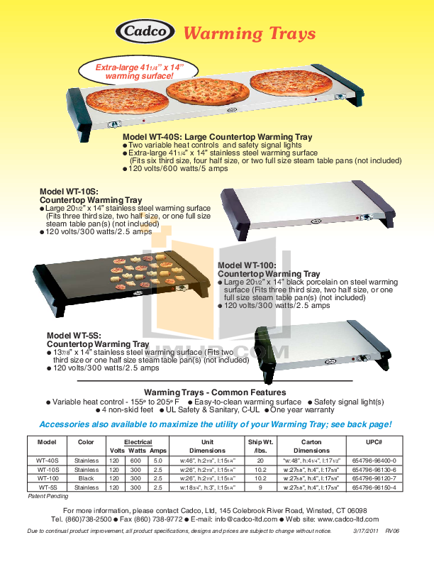 pdf for Cadco Other WT-10S Warming Trays manual
