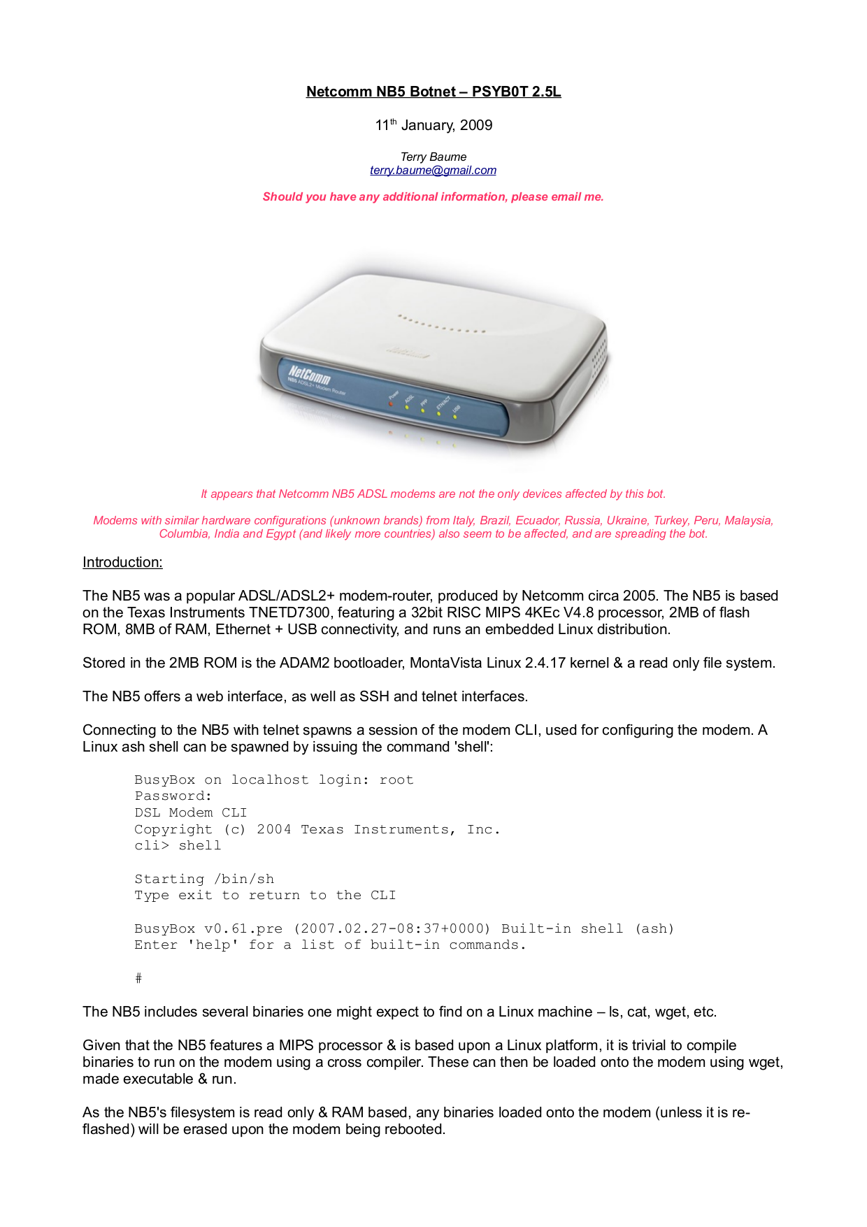 pdf for Netcomm Router NB5 manual