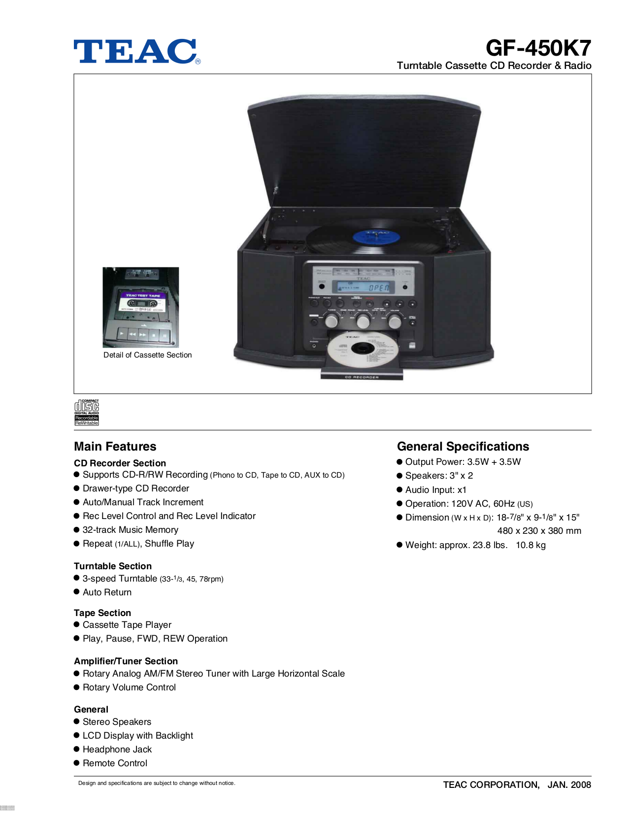 pdf for Teac Other GF-450K7 CD Recorders manual