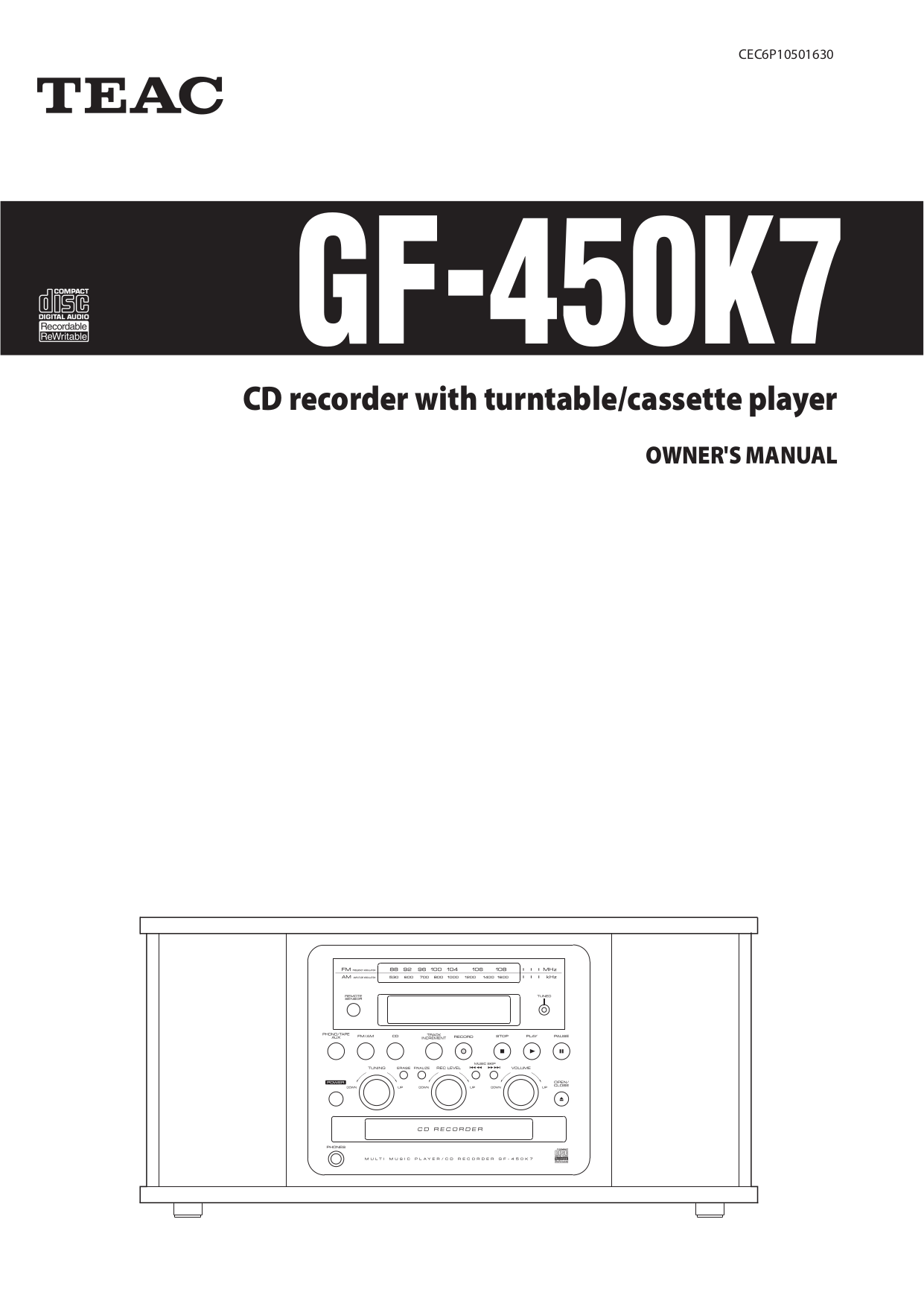 Teac Other GF-450K7 CD Recorders pdf page preview