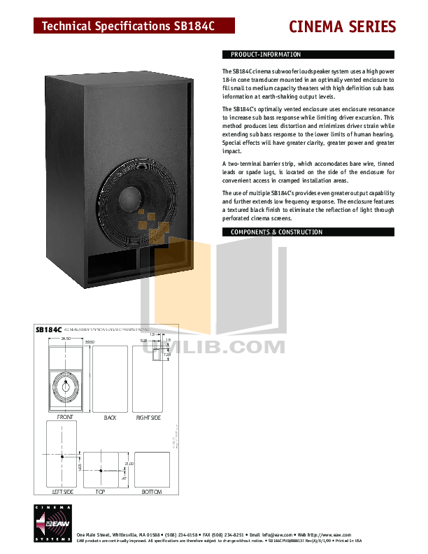 pdf for Eaw Subwoofer Cinema SB184C manual