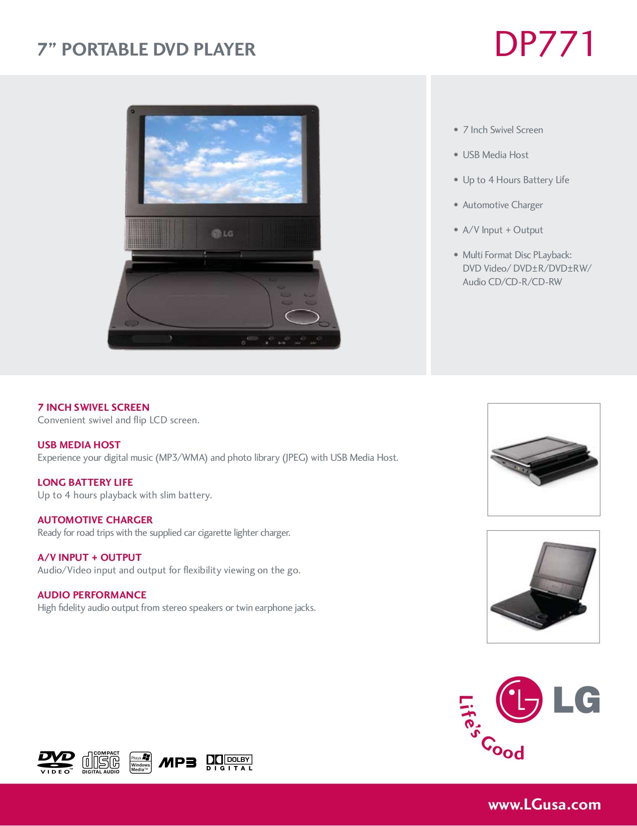 pdf for LG Portable DVD Player DP771 manual