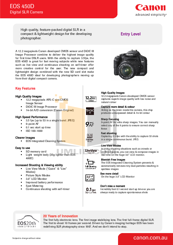 Download Canon eos 450d Manual
