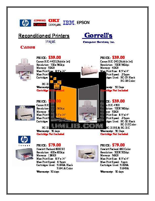 pdf for Canon Printer BJC-4400 manual