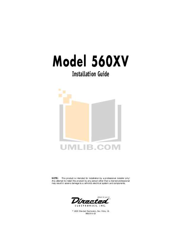 model 560xv directeddealers! this product is intended by professional  installer only  items 560xv installation manual search results!