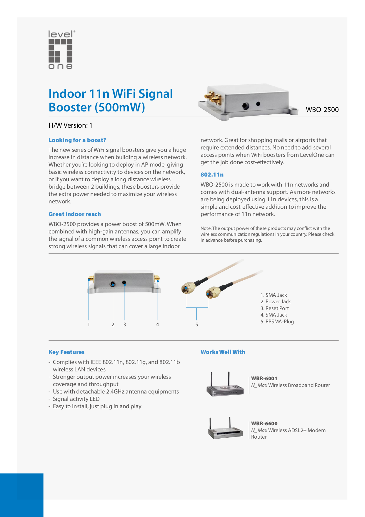 pdf for LevelOne Other WBO-2500 WiFi Signal Boosters manual