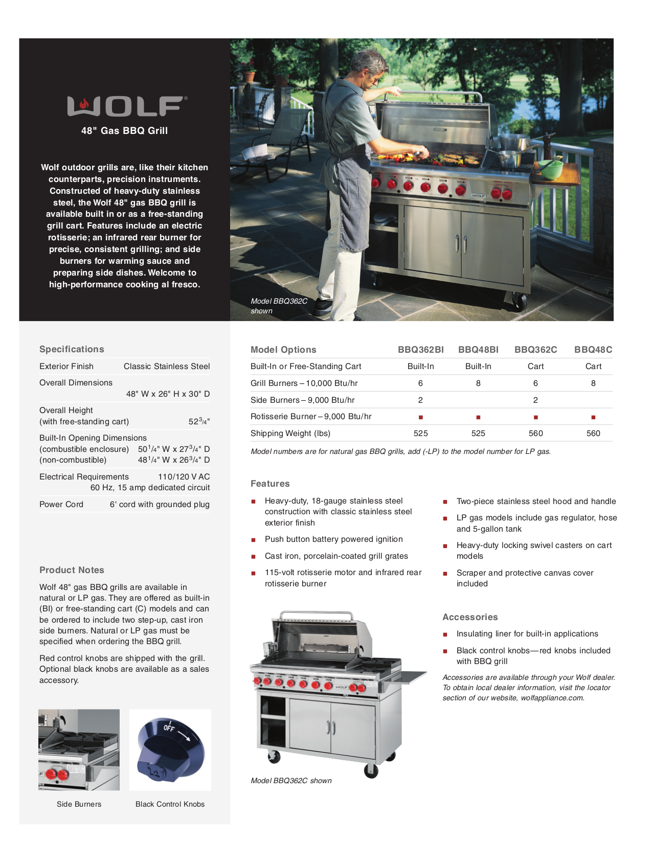 pdf for Wolf Grill BBQ48BI manual