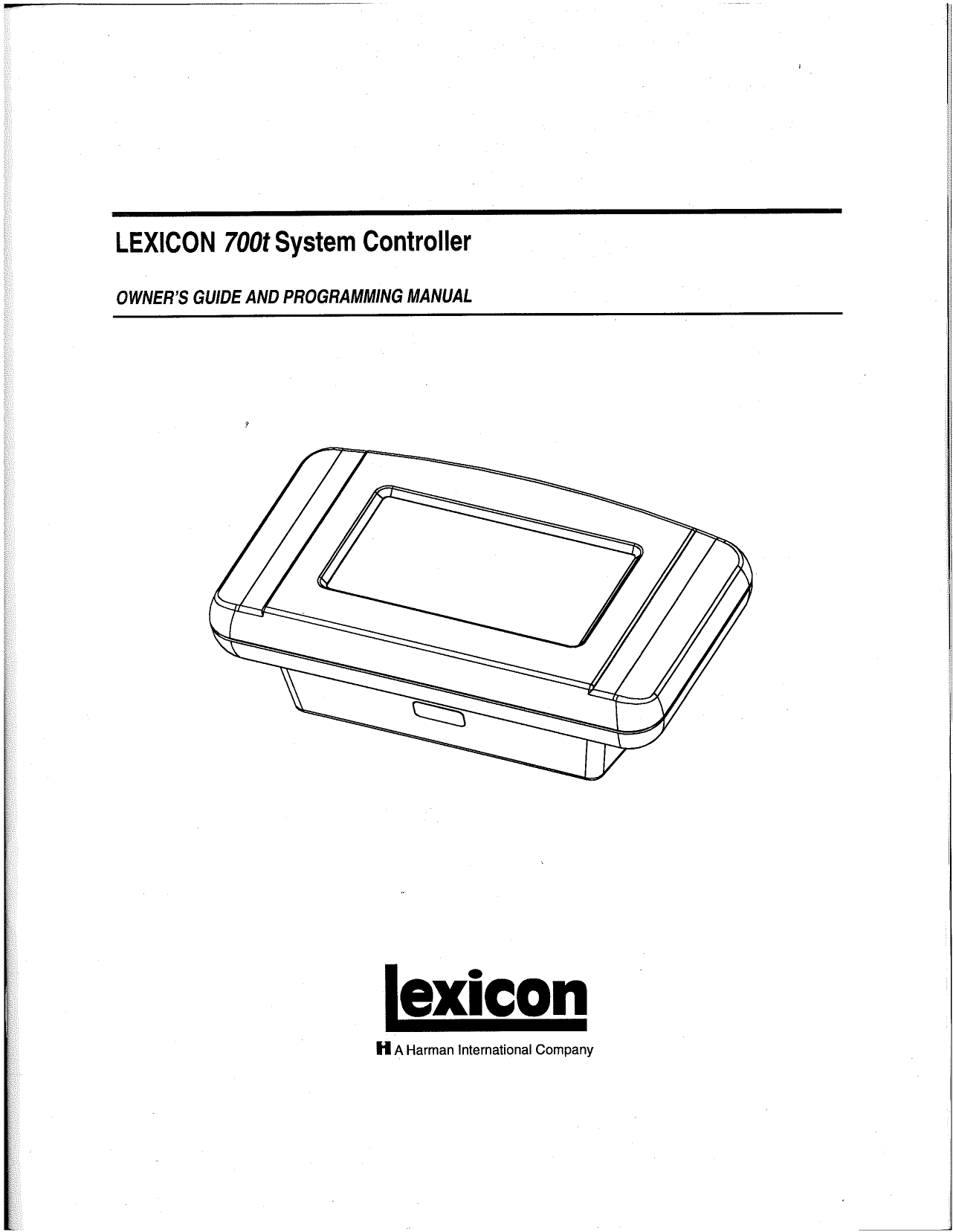 pdf for Lexicon Other 700t System Controller manual