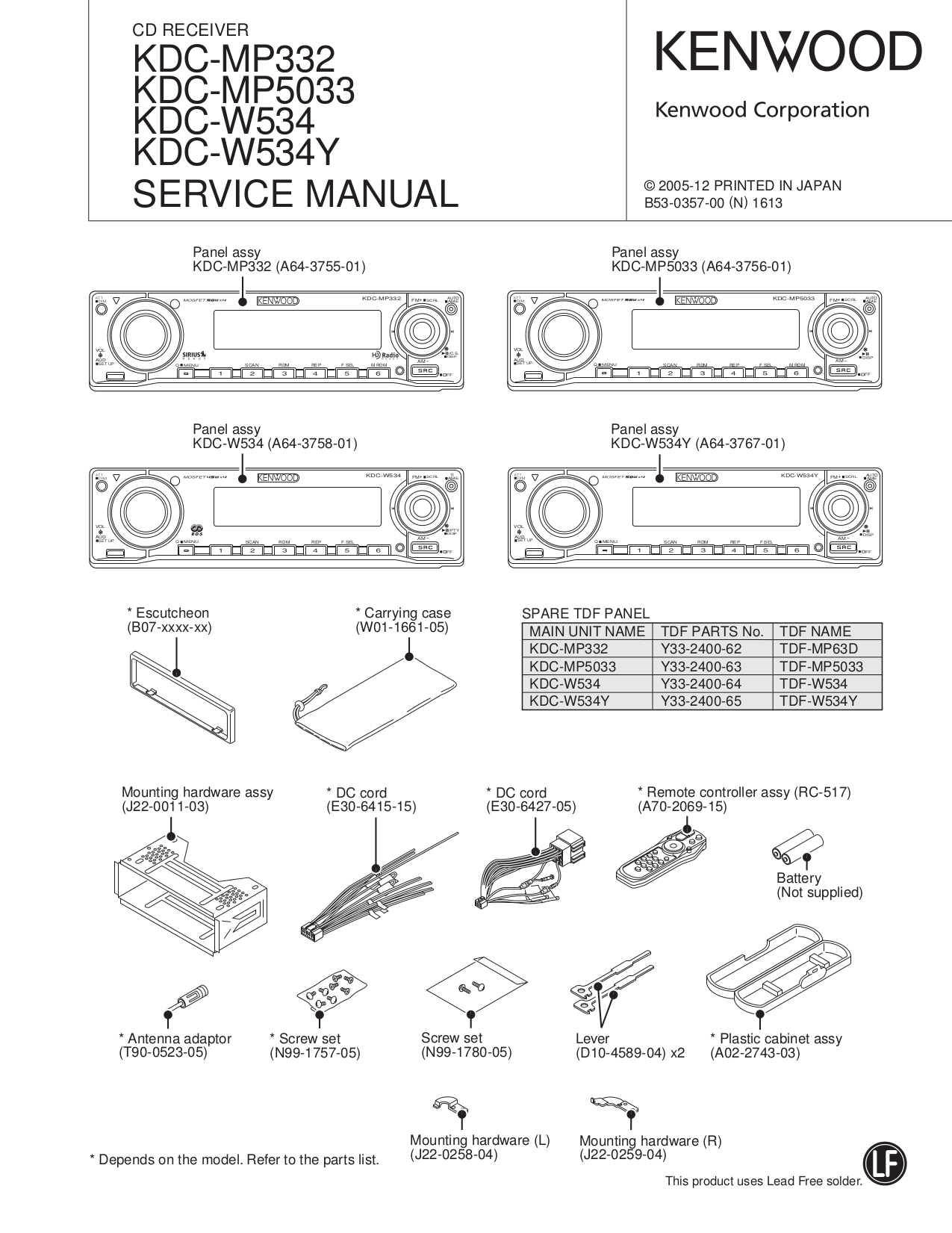 the manual describes functions of kdc-mp332, free manuals, user manual,  model and serial numbers whenever you call upon your kenwood dealer for  this owner