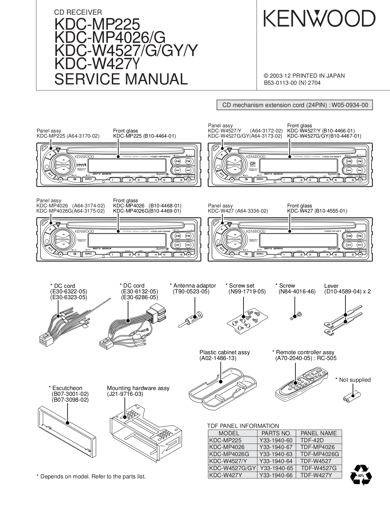 Download Free Pdf For Kenwood Kdc 222 Car Receiver Manual Model Wiring Diagram 3011