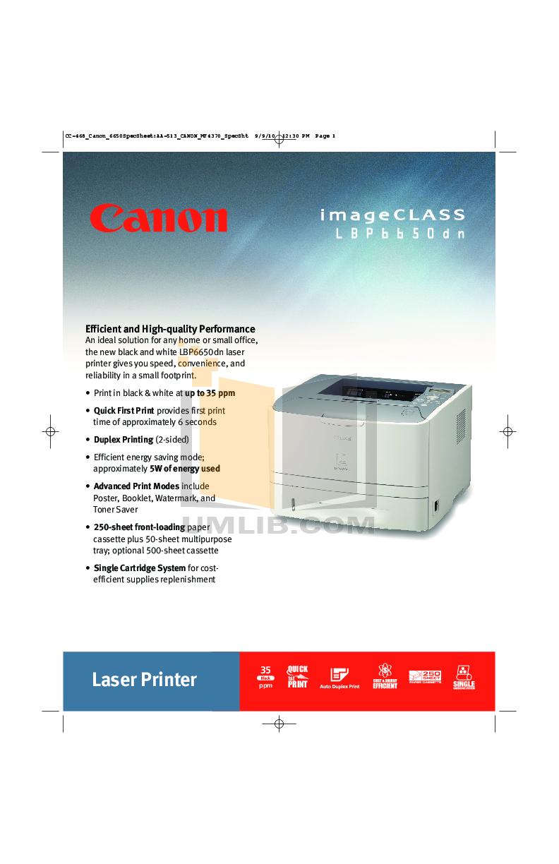 pdf for Canon Printer imageCLASS LBP-6650DN manual
