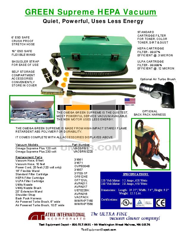 pdf for Atrix Vacuum Omega IPM Vacuum manual