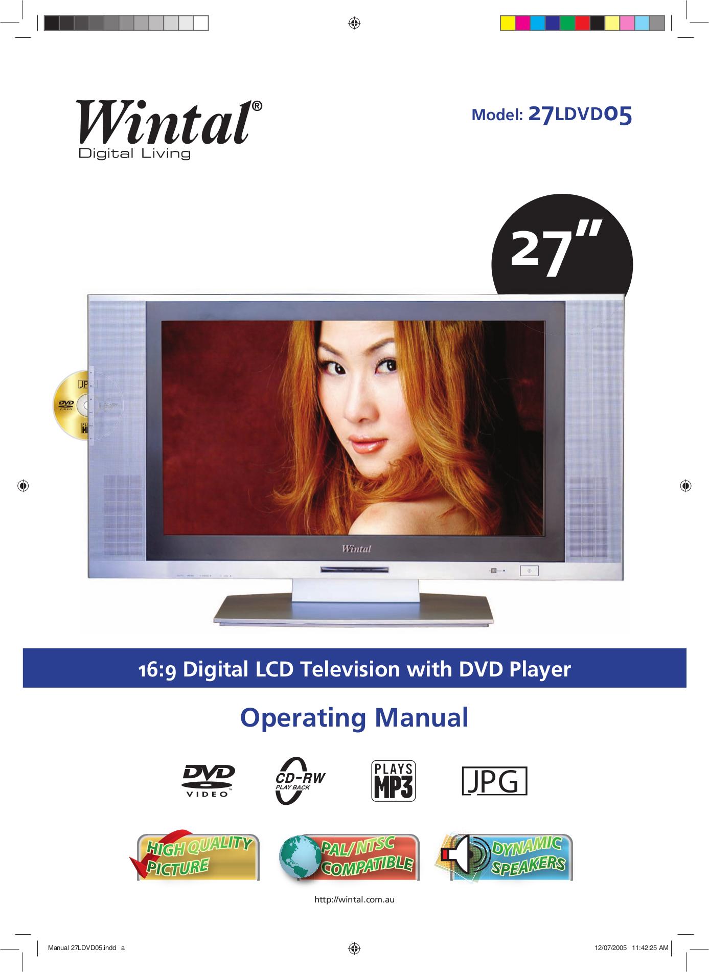 pdf for Wintal TV 27LDVD05 manual