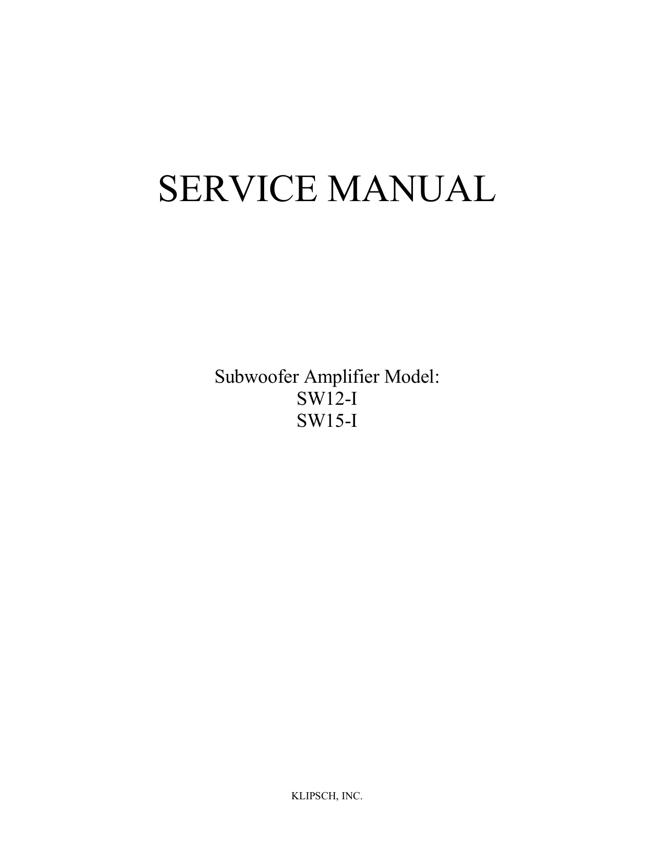 Klipsch subwoofer manual ksw 10