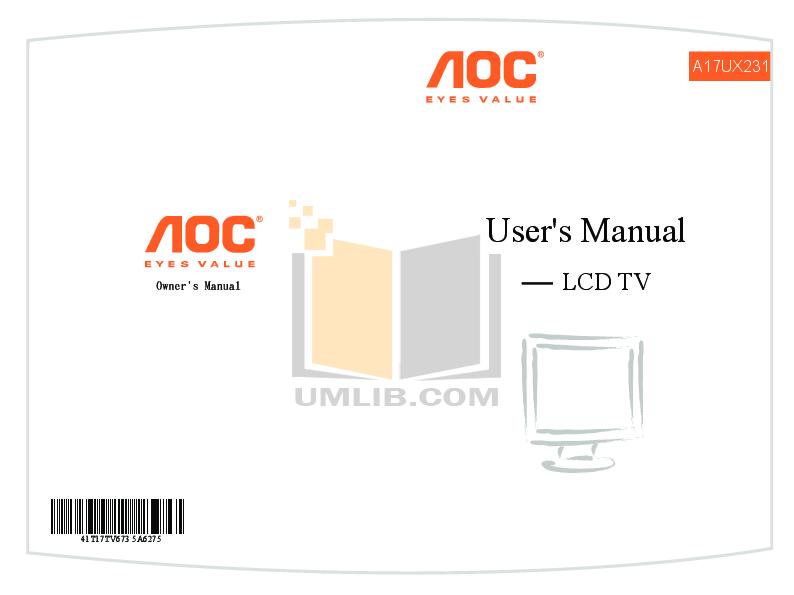 pdf for AOC TV A17UX231 manual