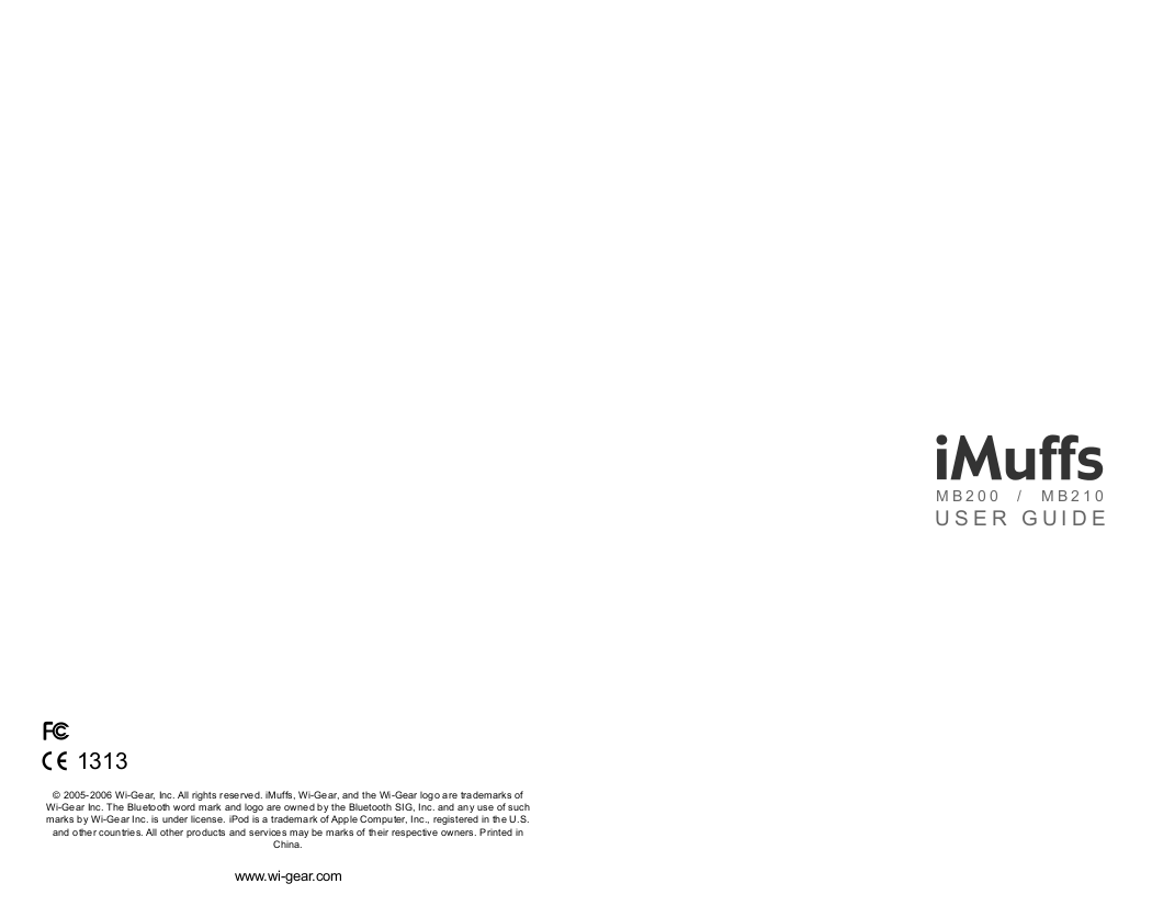 pdf for Wi-Gear Headset iMuffs MB200 manual