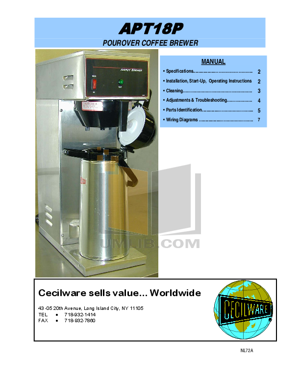 pdf for Cecilware Coffee Maker APT18 manual