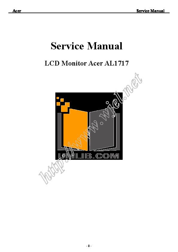 pdf for Acer Monitor AL1717 manual