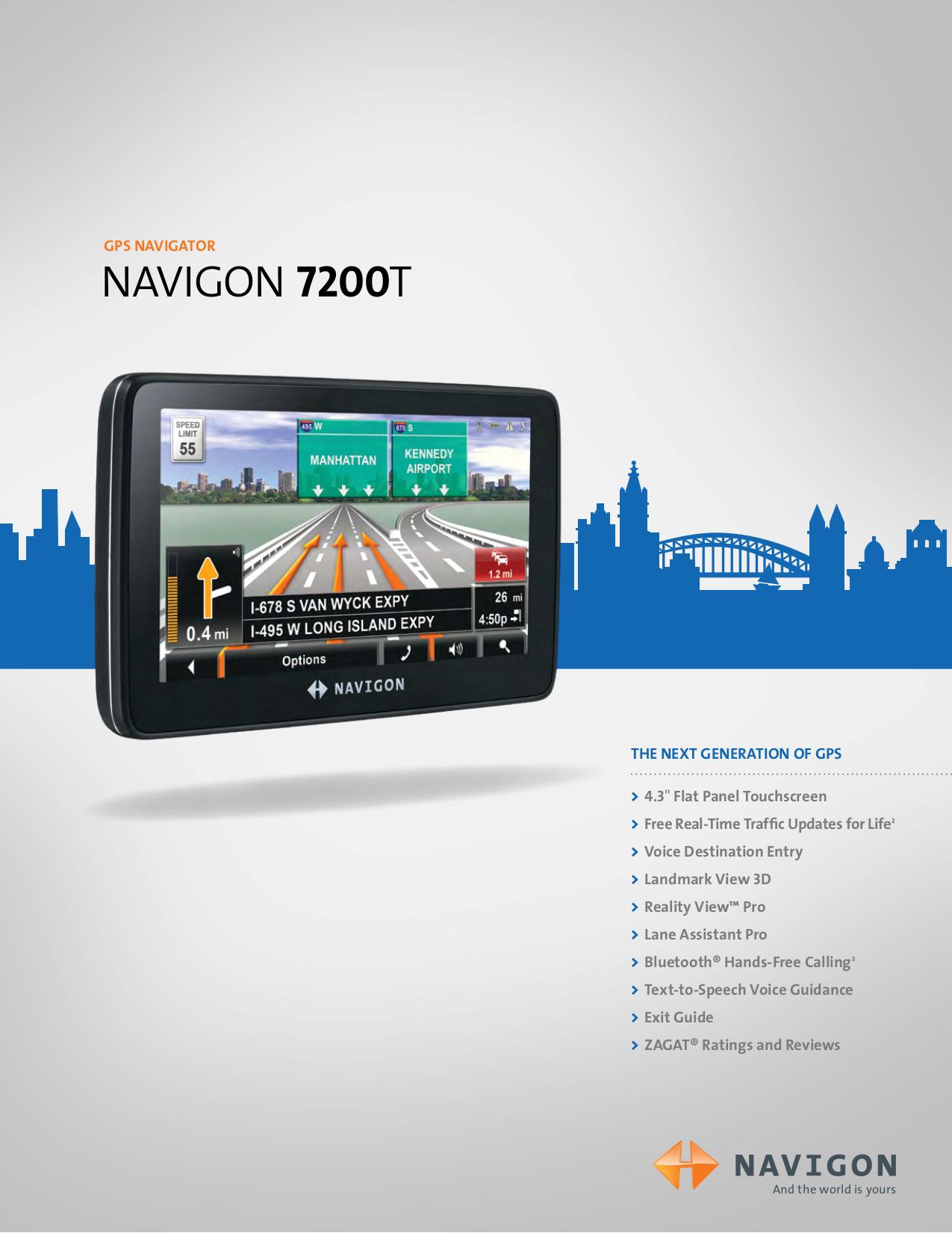 pdf for Navigon GPS 7200T manual