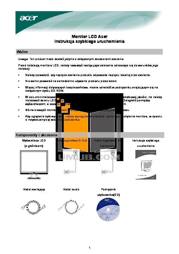 pdf for Acer Monitor AL2017 manual