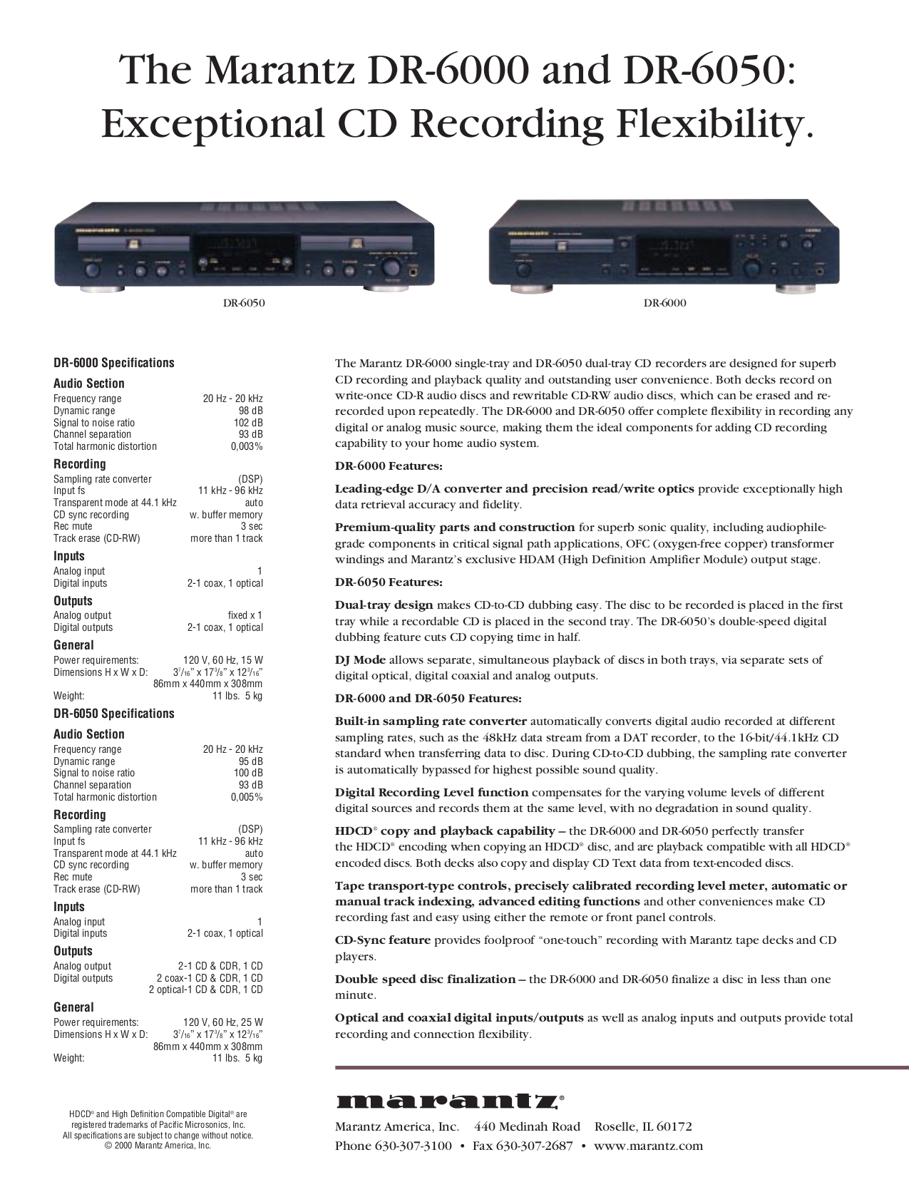 pdf for Marantz CD Player CD-6000 manual