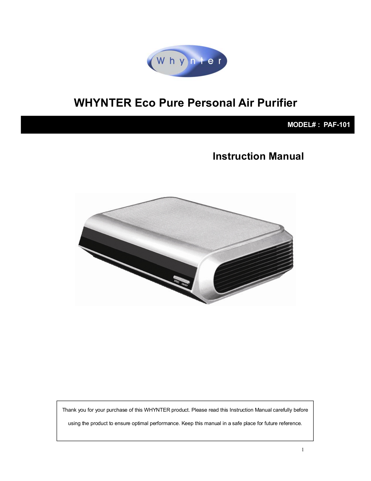 pdf for Whynter Air Purifier PAF-101 manual