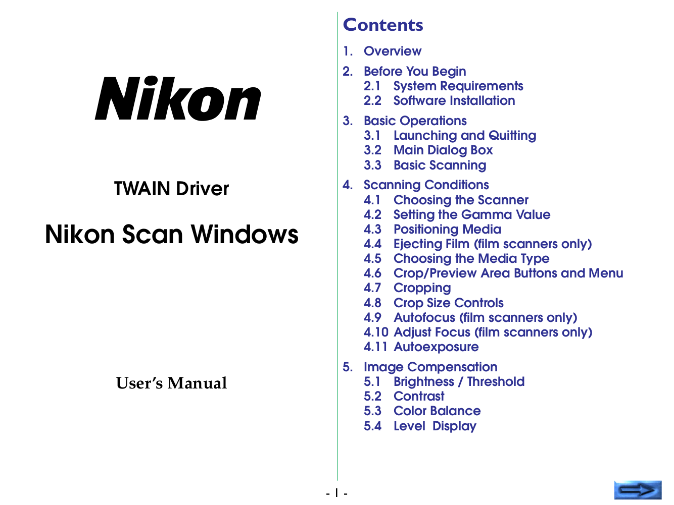 pdf for Nikon Scanner LS-4500 manual