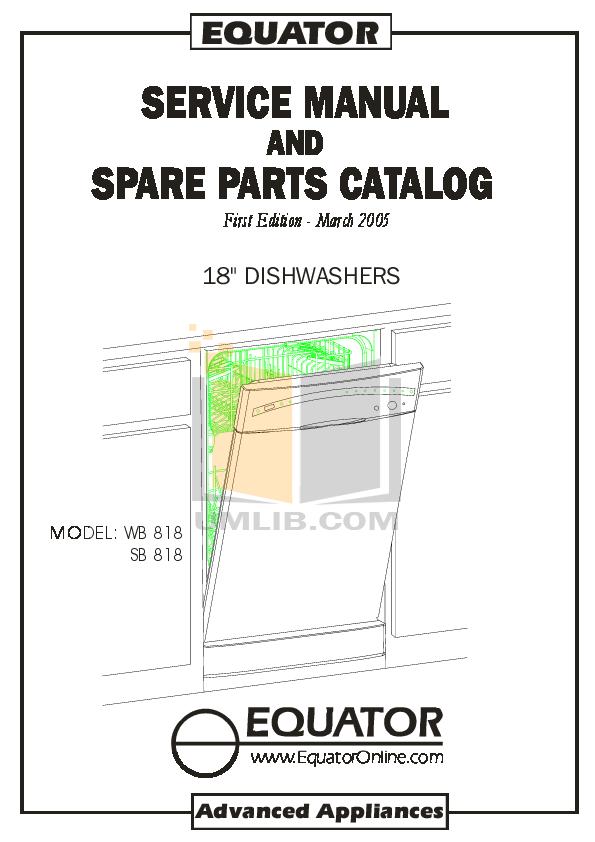 pdf for Equator Dishwasher SB818 manual