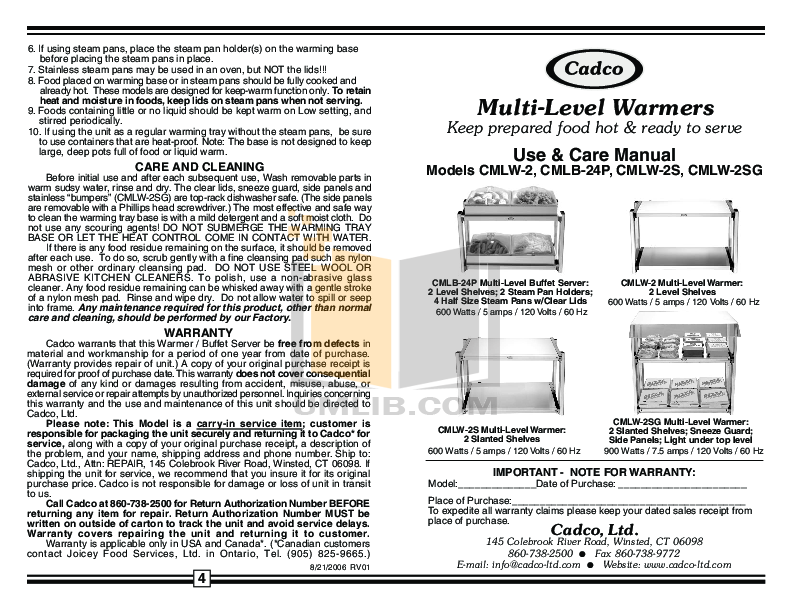 pdf for Cadco Other CMLW-2SG Buffet Servers manual