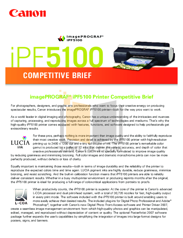 pdf for Canon Printer imagePROGRAF iPF5100 manual