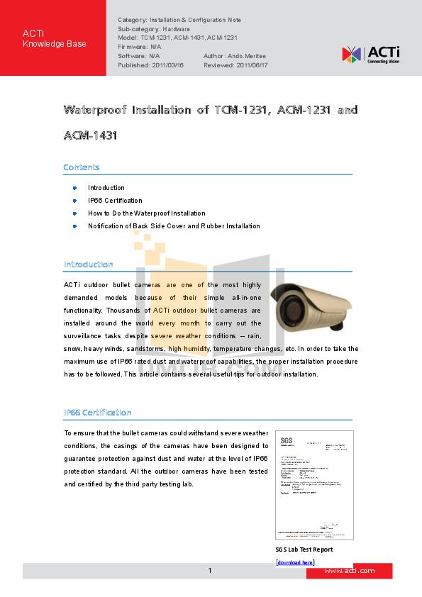 pdf for ACTi Security Camera TCM-1231 manual