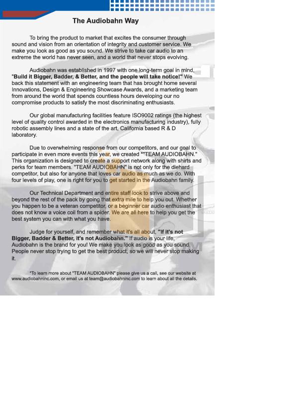 Audiobahn Car Video AVM170TP pdf page preview