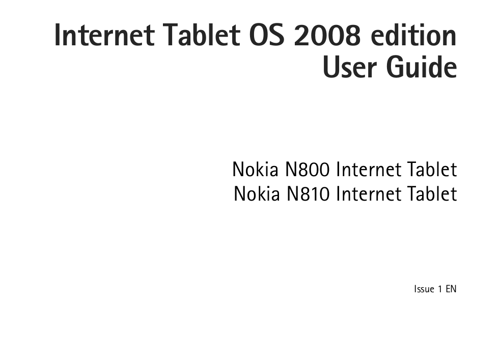 pdf for Nokia Tablet N800 manual