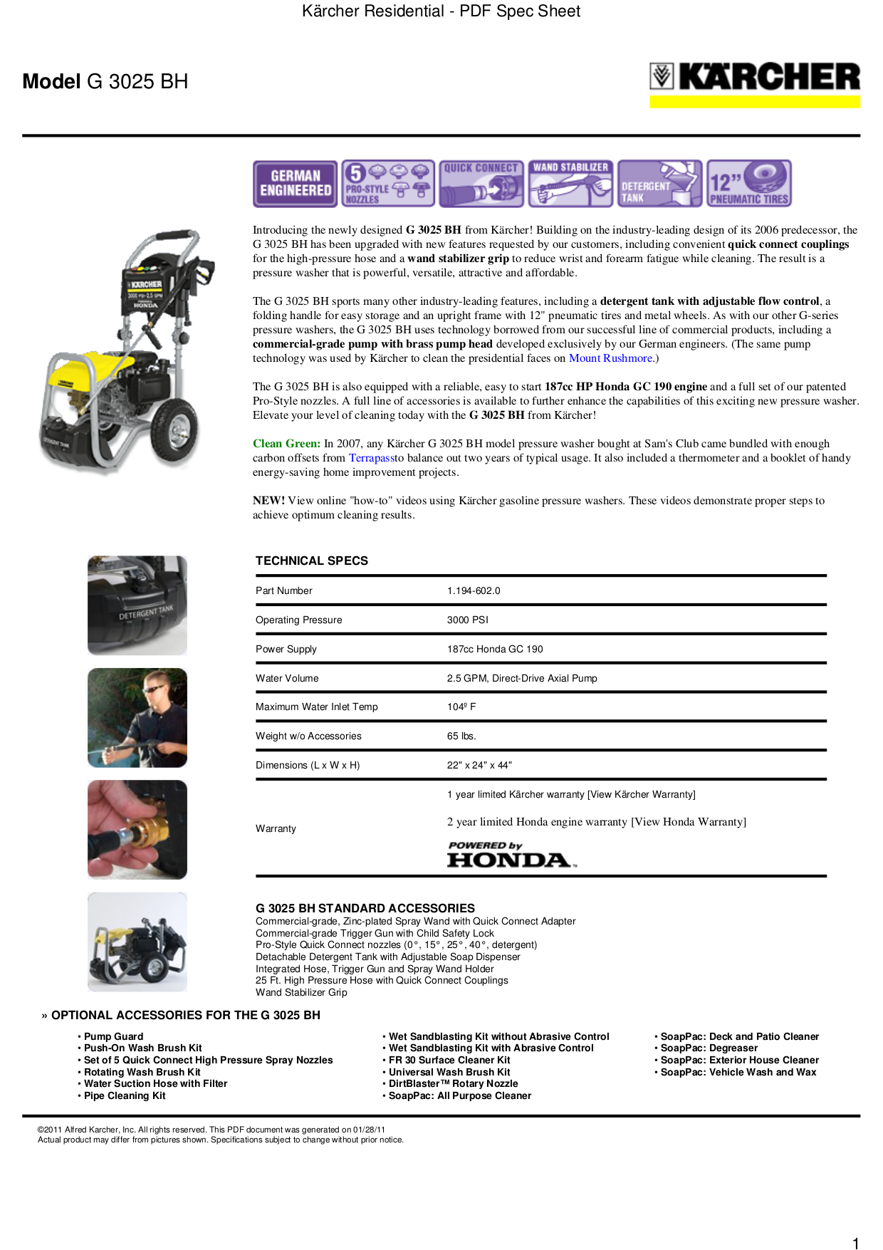 pdf for Karcher Other G 3025 BH Pressure Washers manual