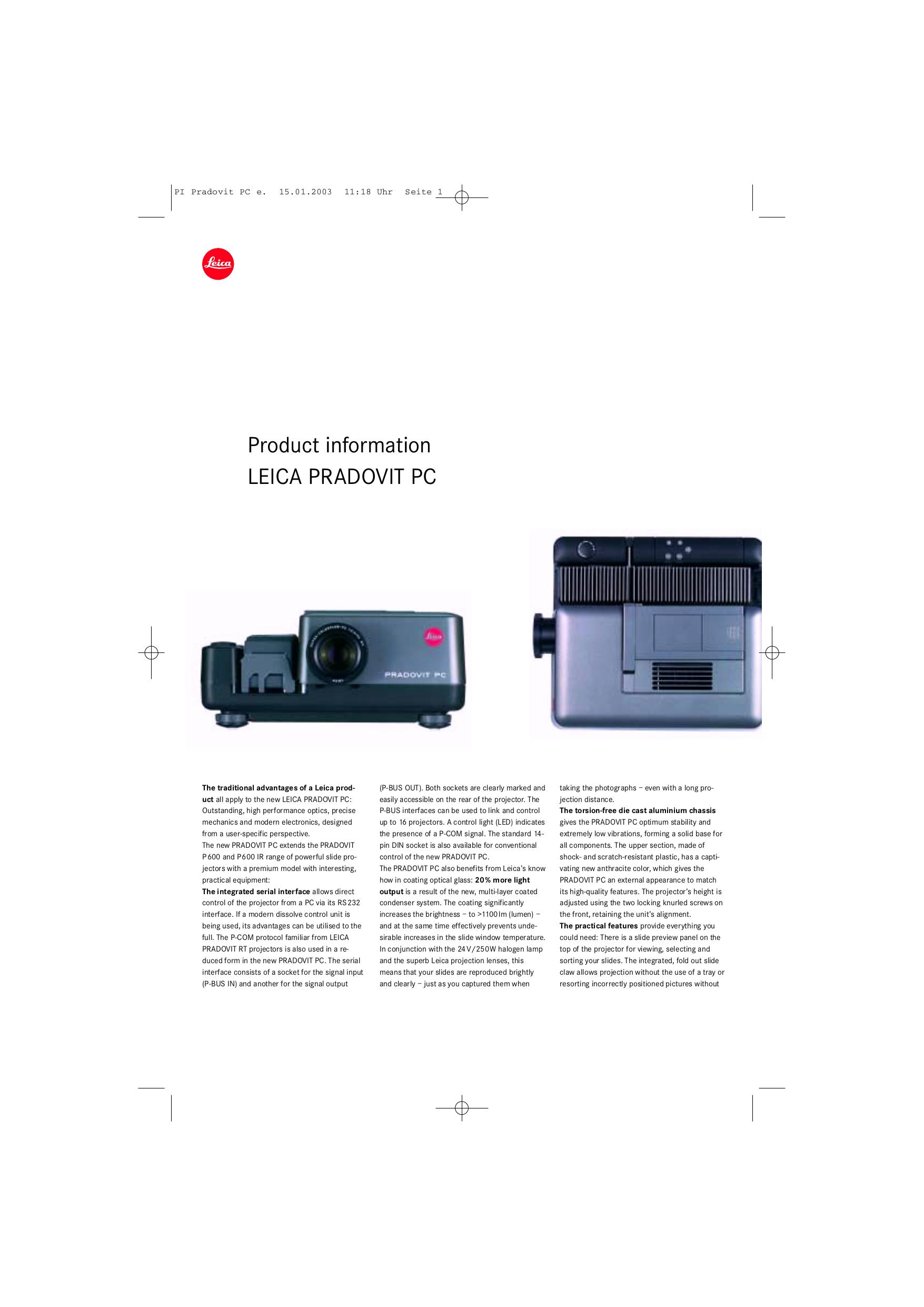 pdf for Leica Projector Pradovit IR manual