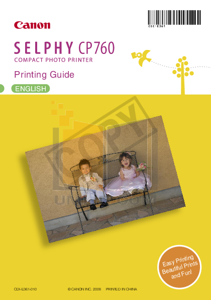 pdf for Canon Printer SELPHY CP760 manual