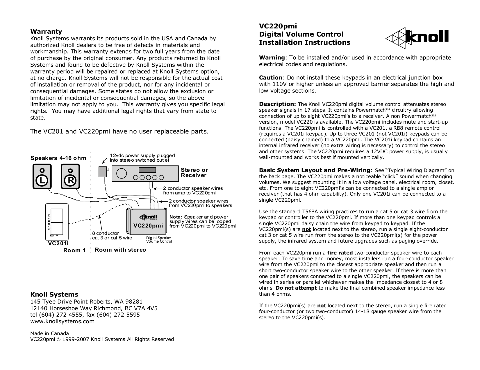 Download Free Pdf For Knoll Vc220pmi Volume Controllers Other Manual Pmi Wiring Diagram