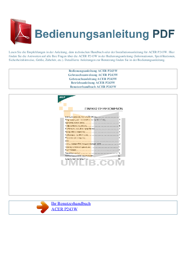 pdf for Acer Monitor P243W manual