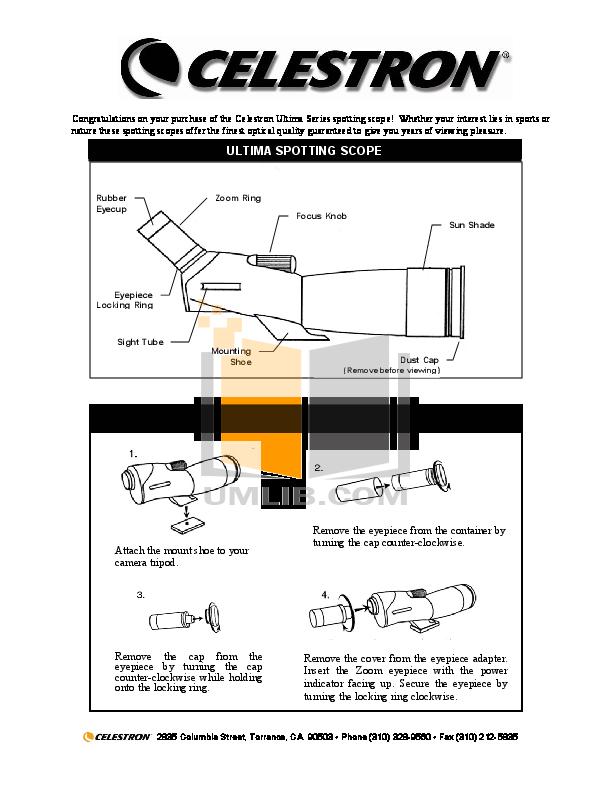 pdf for Celestron Other Ultima 52249 Spotting Scope manual