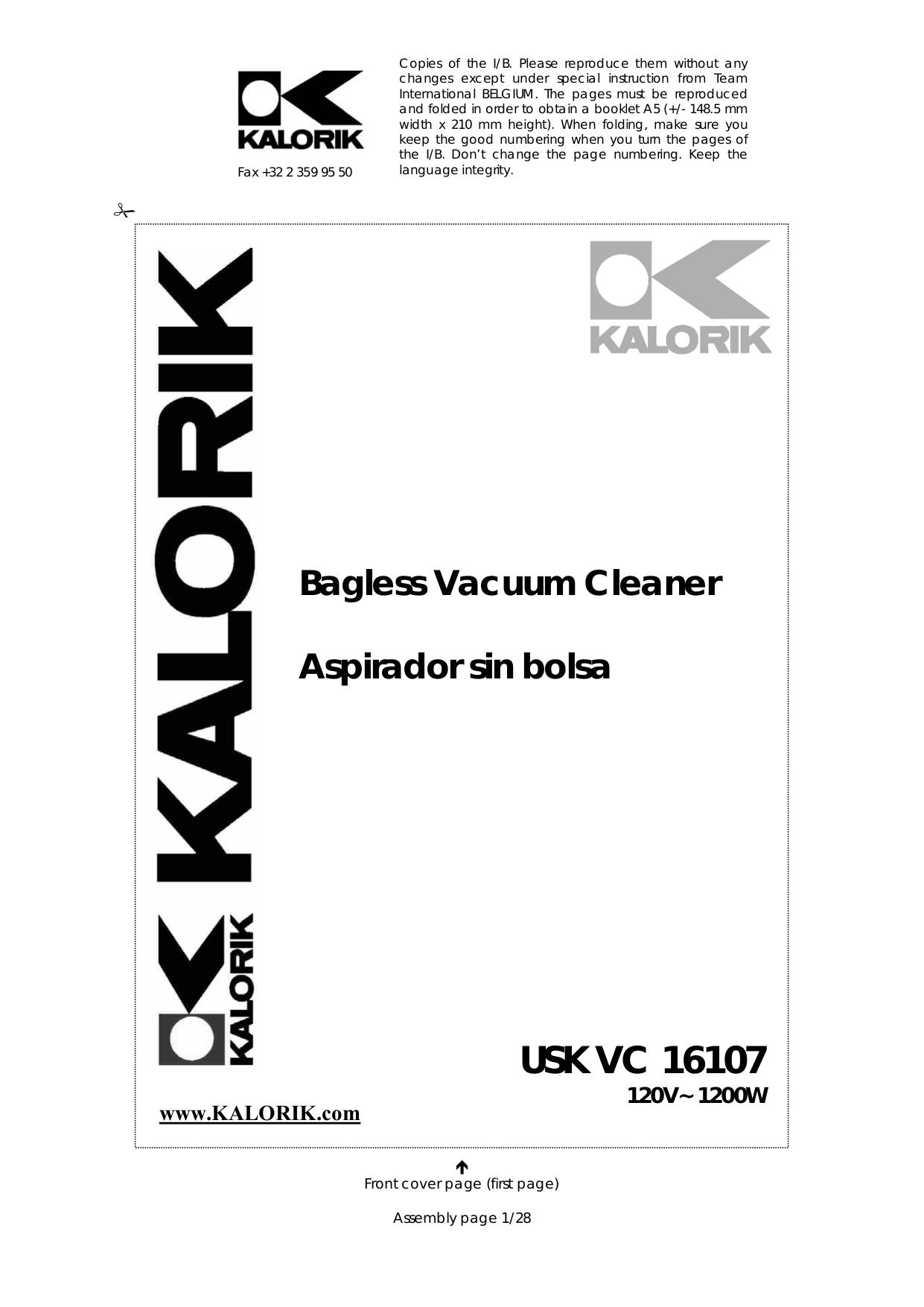 pdf for Kalorik Vacuum VC16107 manual