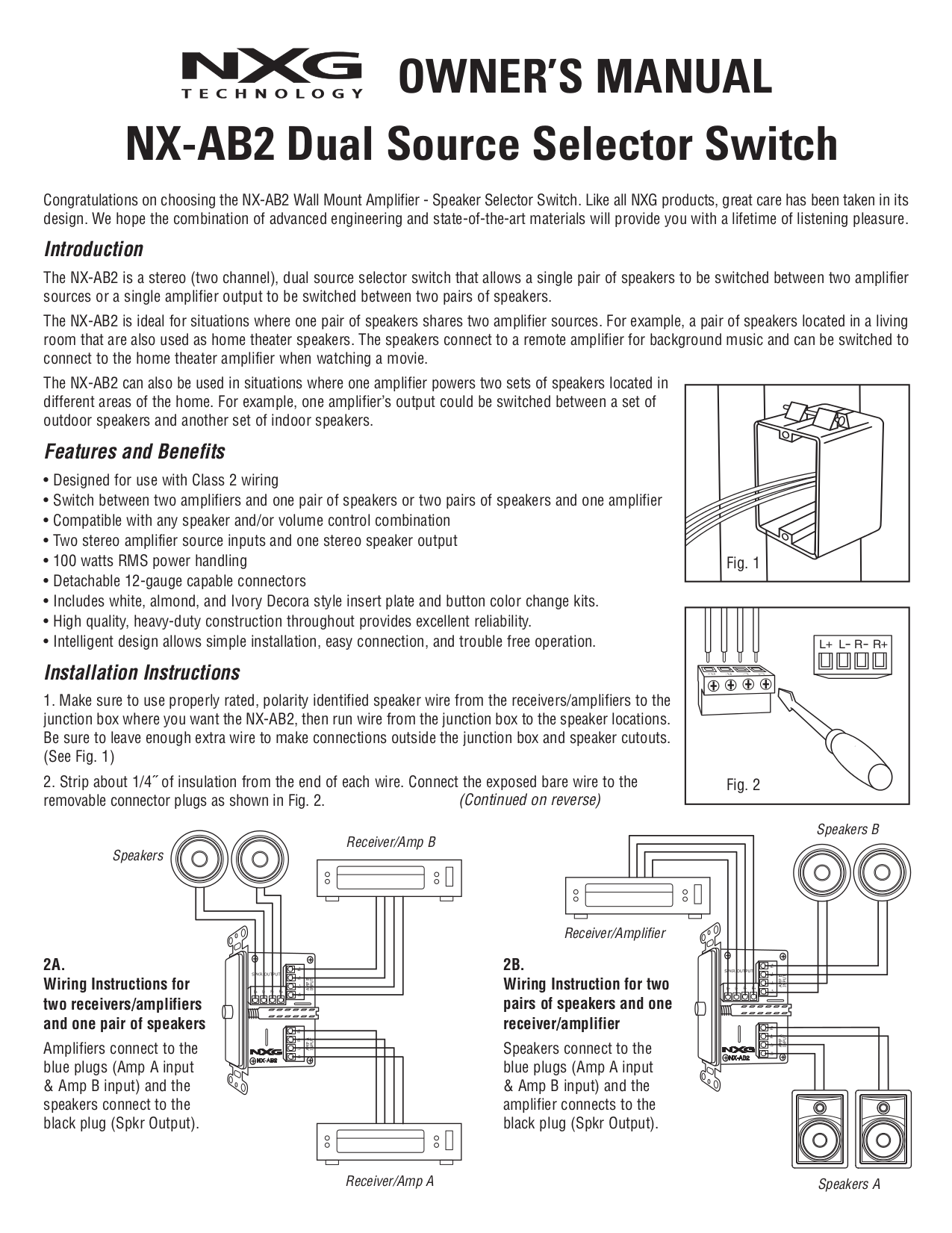 pdf for Nxg Speaker 52C manual