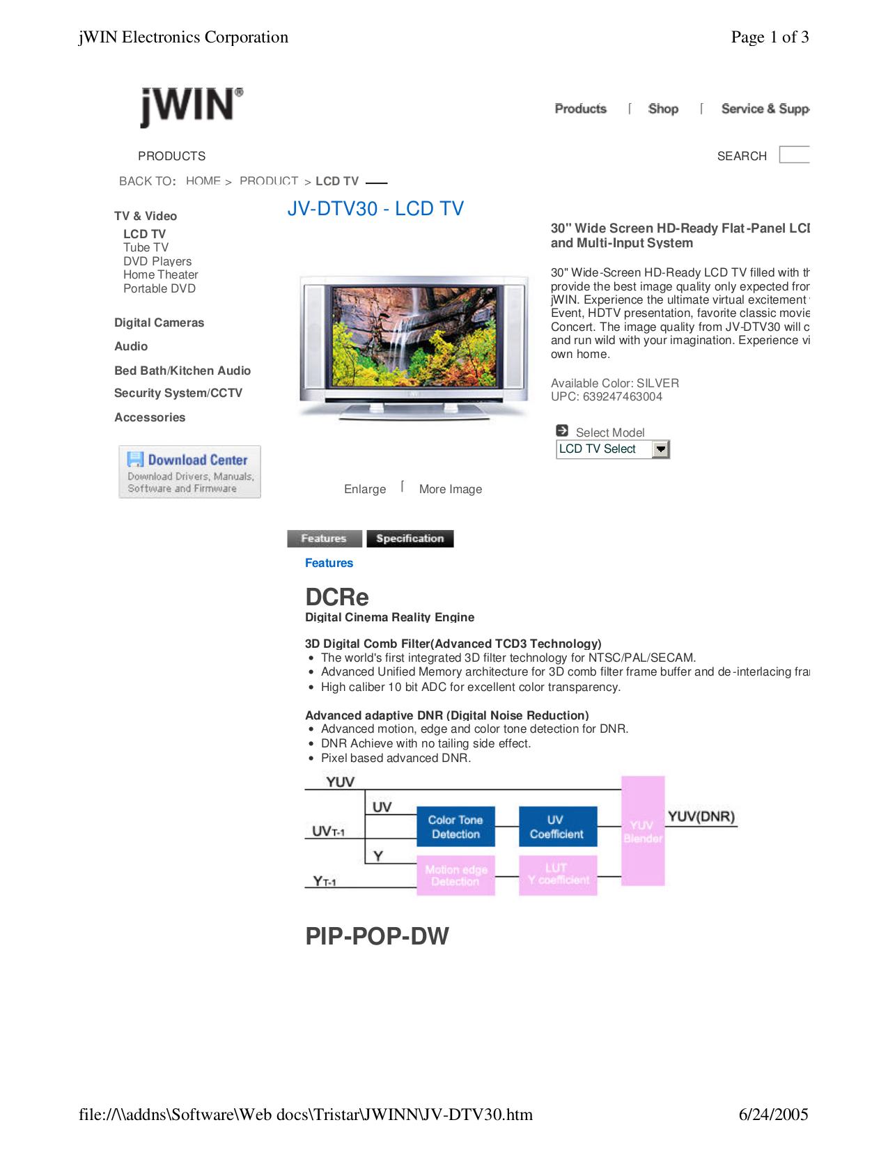 pdf for jWIN TV JV-DTV30 manual