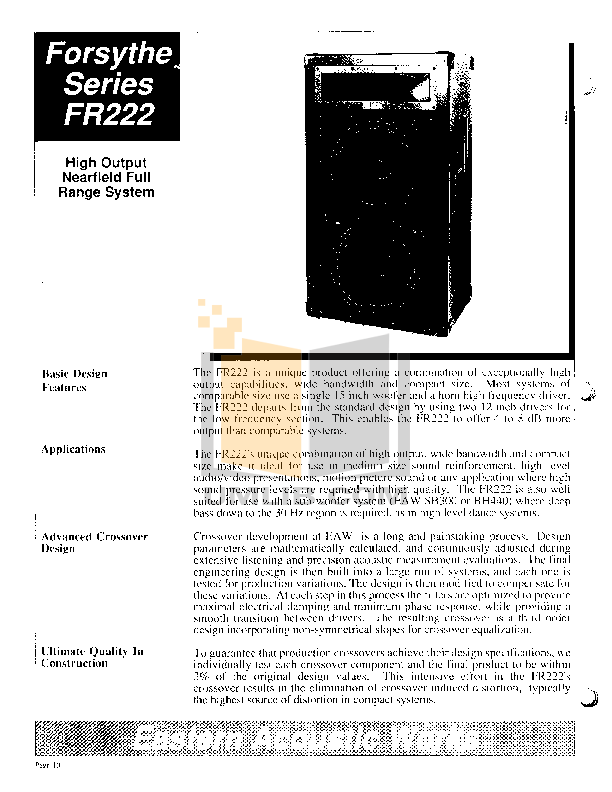 pdf for Eaw Subwoofer BH440 manual