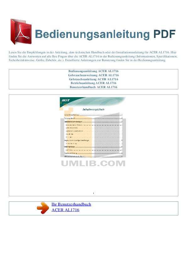 pdf for Acer Monitor AL1716 manual