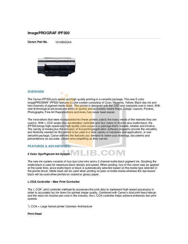 pdf for Canon Printer imagePROGRAF iPF500 manual