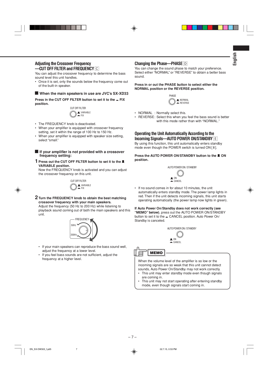 JVC Speaker System SX-XD33 pdf page preview
