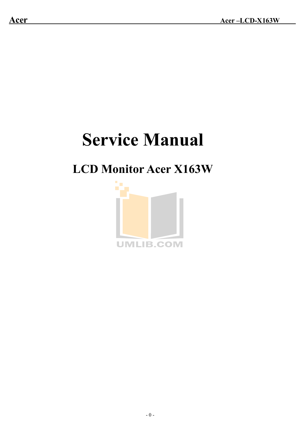 pdf for Acer Monitor X163W manual