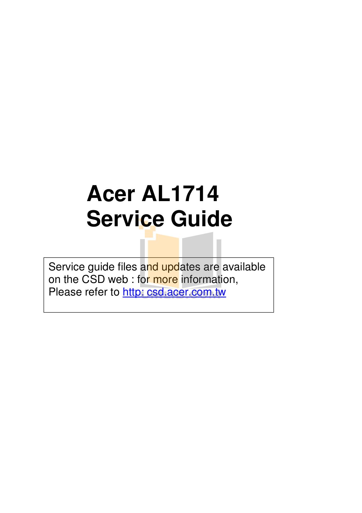 pdf for Acer Monitor AL1714 manual