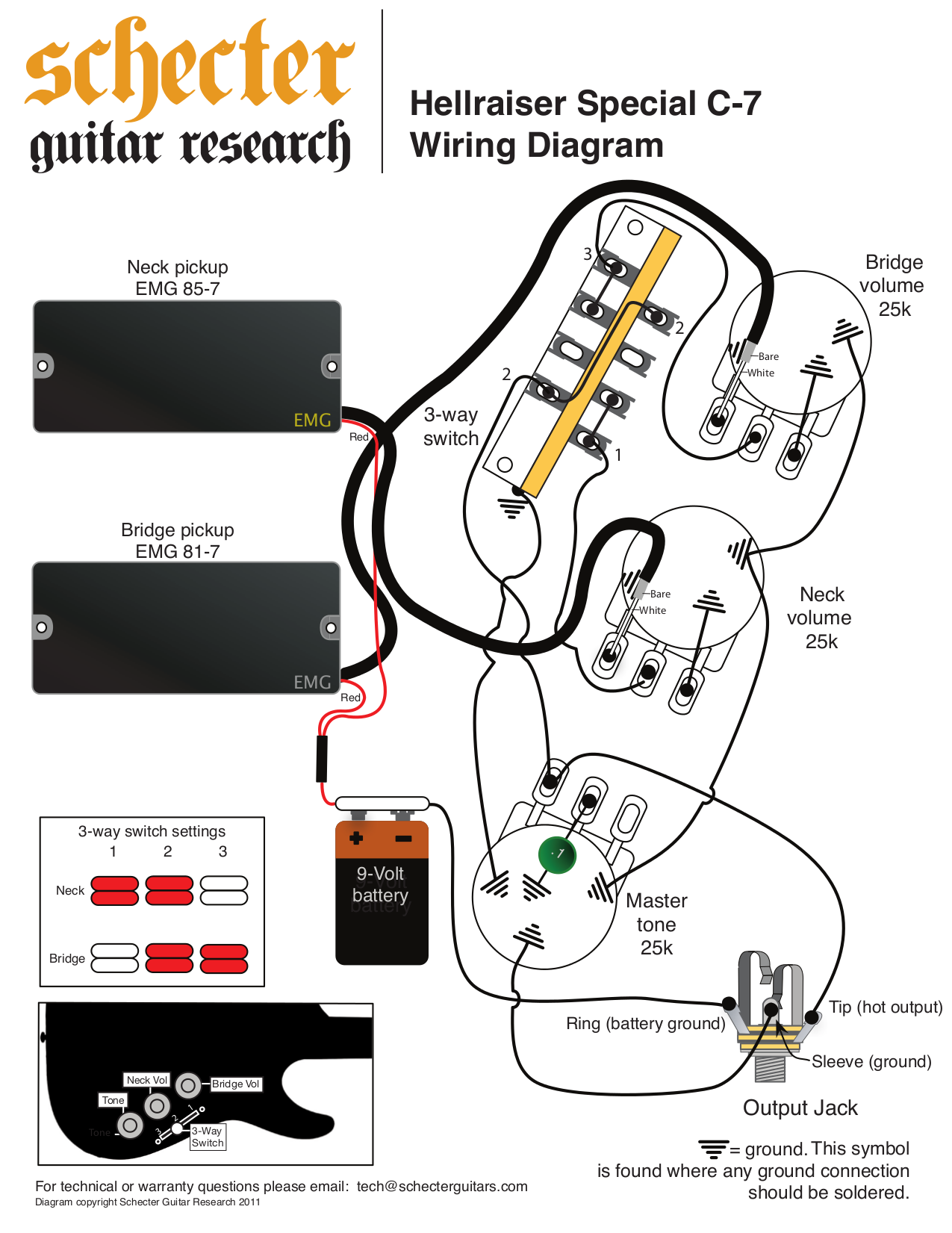 Schecter Wiring Diagram 23 Images Diagrams Gibson Explorer Pdf Guitar Hellraiser Special C 7 Page Preview